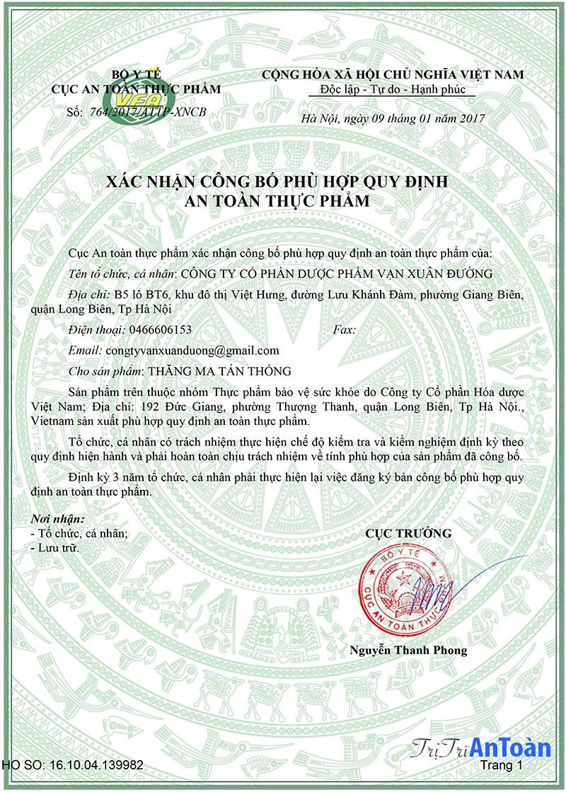 giấy chứng nhận thăng ma tán thống